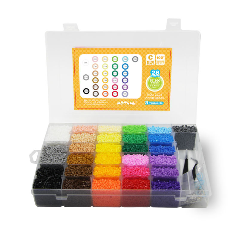28 Color Artkal Fuse Beads Box Set With Pegboards DIY Fashion Jewelry Gift Perler Mini Hard Beads CC28 artkal mini beads 36 color box set funny food grade eva educational toys diy hama beads handmade gift cc36 page 2