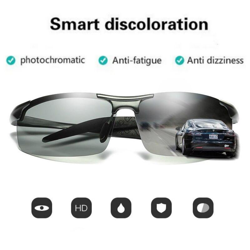 Image 2 - ZJHZQZ Mens UV400 Fishing Polarized Photochromatic Sunglasses Aluminium Magnesium Outdoor Driving Transition Chameleon LensMens Sunglasses   -