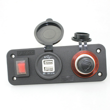 Waterproof Car Motorcycle Dual USB Charger, Cigarette Lighter