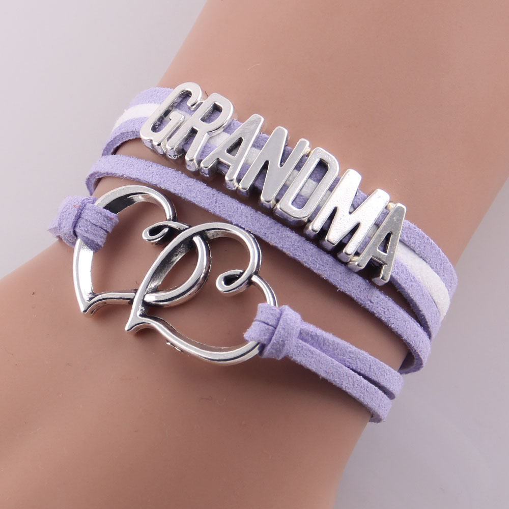 Little Minglou Grandma Bracelet double heart charm suede wrap bracelets & bangles for women jewelry family grandma gift