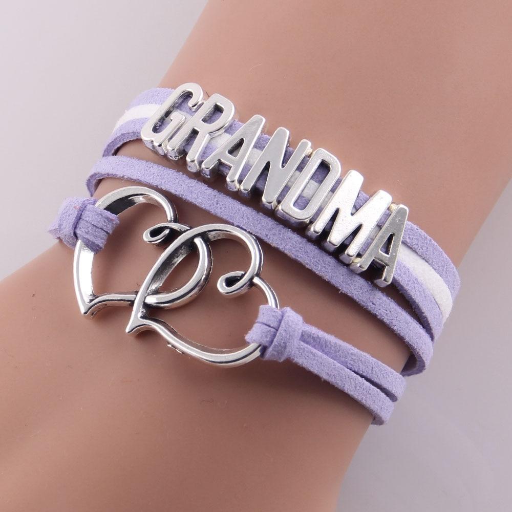 Little Minglou Grandma Bracelet double heart charm suede wrap bracelets & bangles for women jewelry family grandma gift