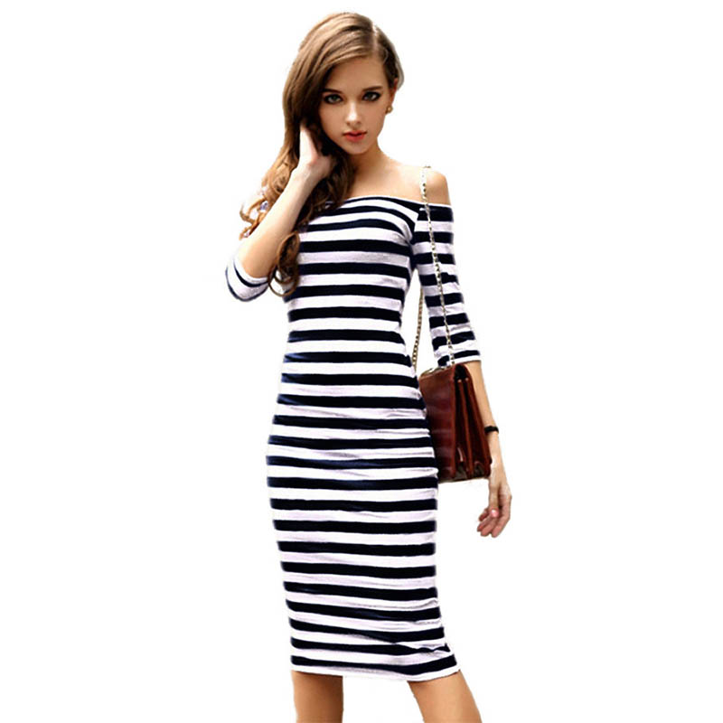 2018 Summer Women Off Shoulder Stripe Dress Knee Length Female Casual Sexy Dress Wrap Pencil Bodycon Dress Plus Size