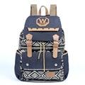 2017 New Korean Vintage Creative Canvas Rucksack Women Personality National Canvas Backpack Female Rivet String Travel Backpack
