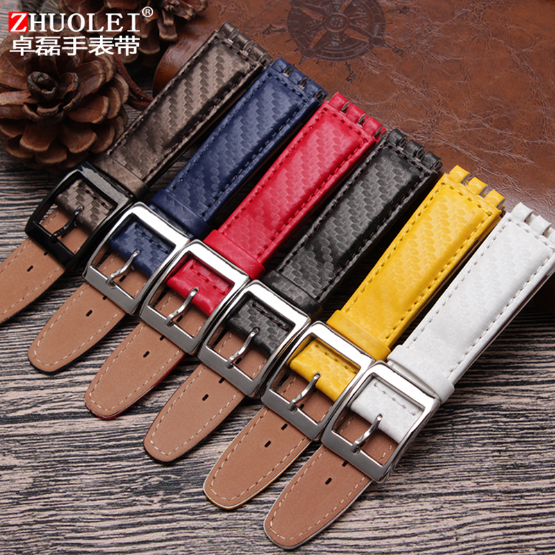 17mm Genuine Leather Strap Women Fashion Watch Red/Blue/Yellow/Black/Brown/White Waterproof Watchband For Swatch Watch