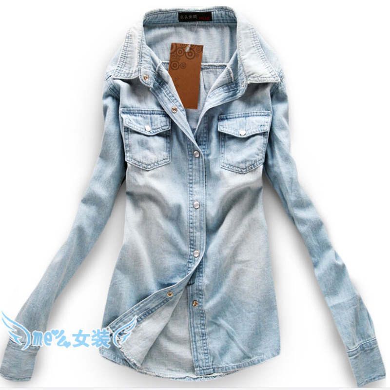 2e66fa30de Cotton Turn-Down Collar Shirts Full Casual Shirts Women Camisa Jeans  Feminina Denim Shirt Cheap Clothes China 2015 New Arrival