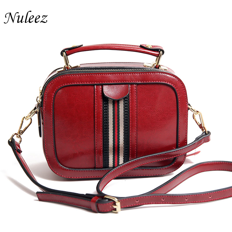 Nuleez genuine cowhide oil waxy leather women flap bag striped decorate fashion 2018