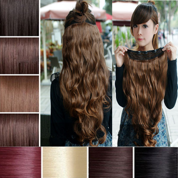 Aliexpress Buy 1PCS Natural Hair Extension 27 68cm 145g Women Long Wavy Clip In Extensions Multi Color Heat Resistance Wholesale From Reliable
