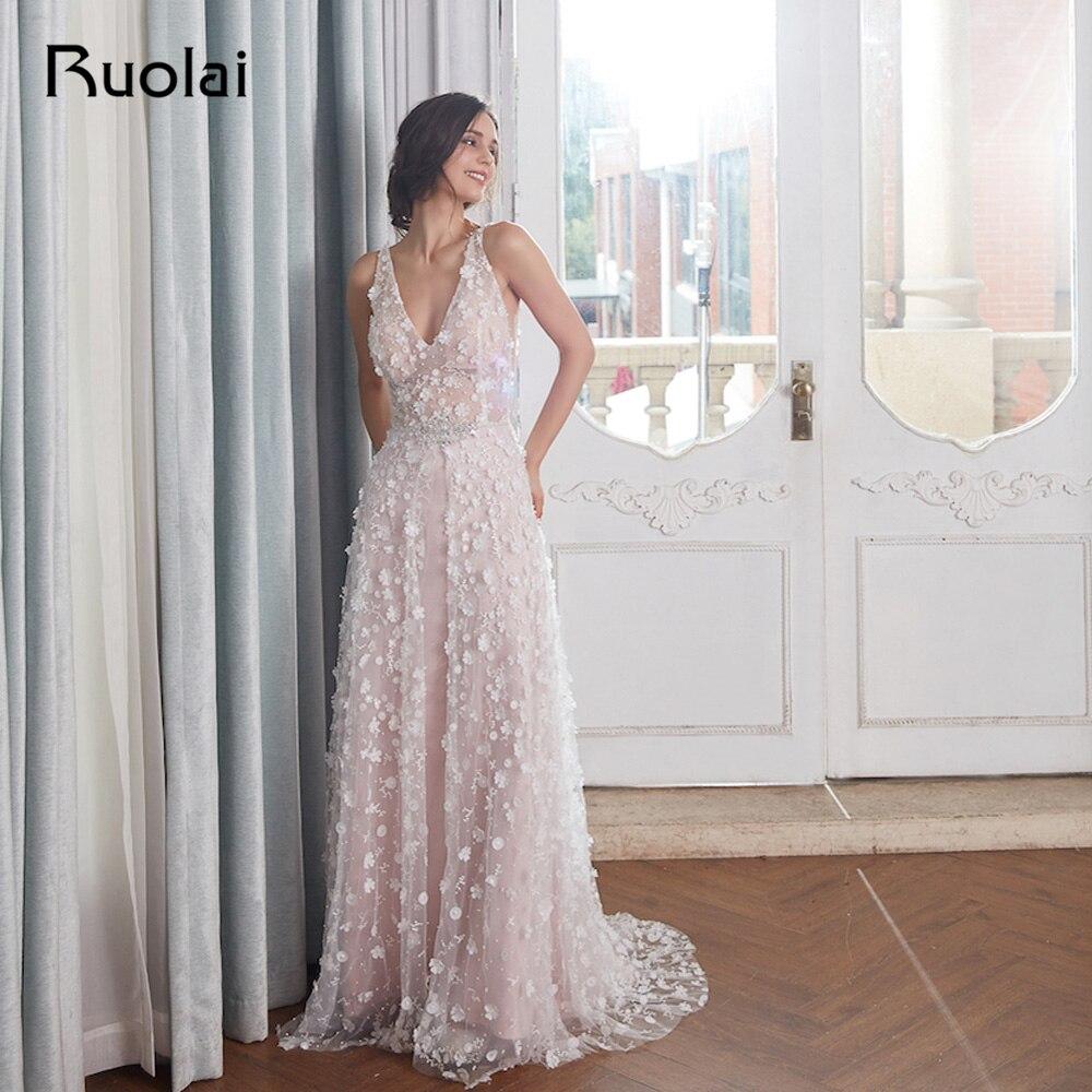 Light Pink Elegant Evening Dresses 2018 V-Neck Flower Beaded Prom ...