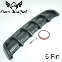 SuTong Universal ABS Car Rear Shark Fin Style Curved Addon Bumper Lip Diffuser 6 Fins Shark Style Diffuser