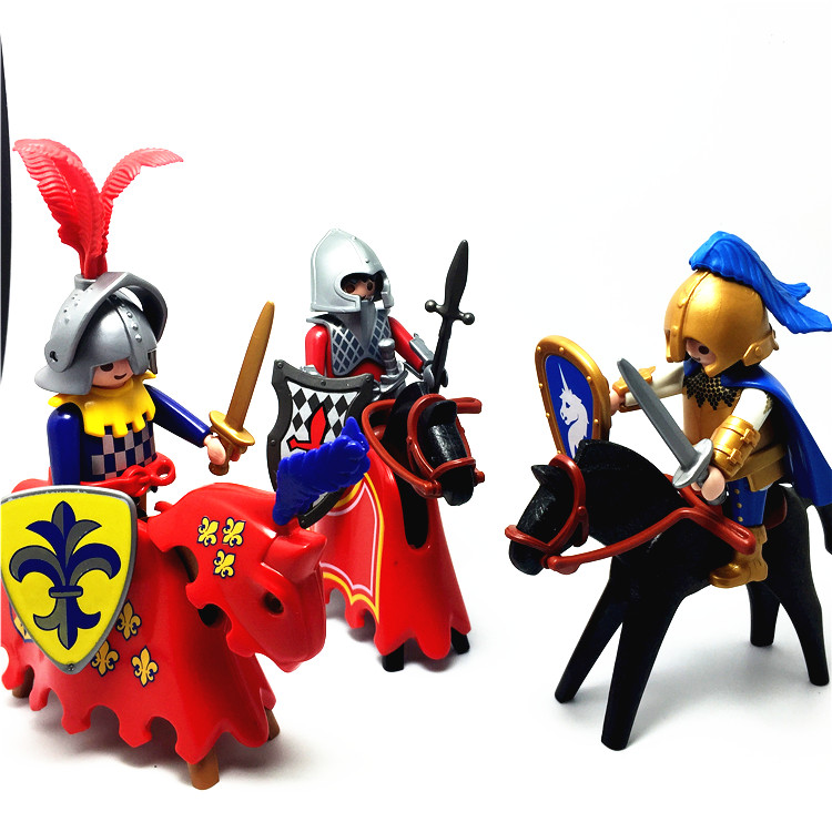 2018 Playmobil Set German Roman Knight Warrior Action Figures Building Blocks Vinyl Dolls Sets Christmas Gift Toys for Children 6pcs set disney trolls dolls action figures toys popular anime cartoon the good luck trolls dolls pvc toys for children gift