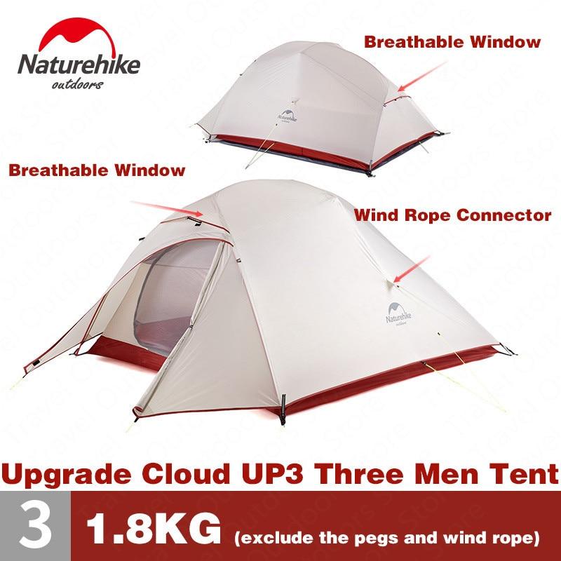 Naturehike Tente Mise À Niveau CloudUp Série 3 Personnes 20D Silicone Double couche En Aluminium Pôle Ultra-Léger de Camping Tente NH18T030-T