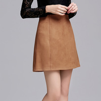 2016 New Spring Summer Women S A Word Khaki Suede Skirts Wild Slim PU Leather Skirt