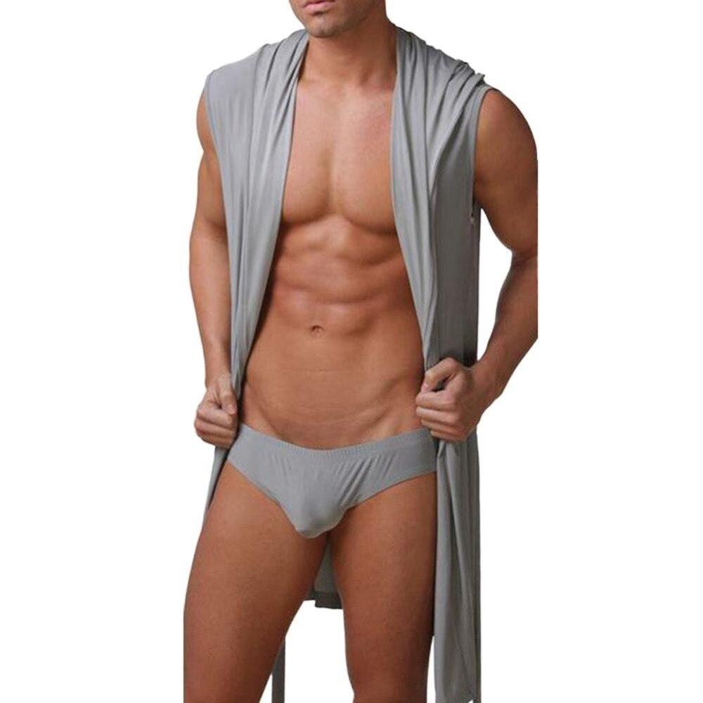 2019 Summer Bath Robe Mens Sexy Sleeveless Pajamas Sleepwear Silk Pijama  Mens Bathing Pyjamas Hooded Bathrobe