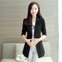 Spring Women Blazer Fashion Straight Slim Single Breasted Long Casual Suit Jacket Blazer Feminino Plus Size