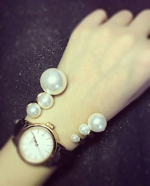 Luxe ouverture taille coquille perle femmes Bracelets Bracelets mode chaude couleur or trois pièces ensemble Bracelets marque bracelet - 4