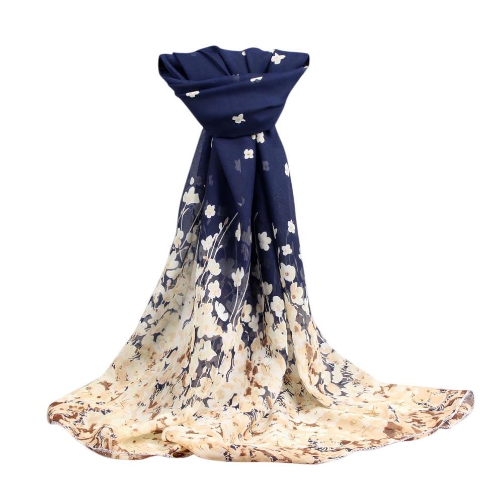 Fashion Women Flowers Scarf Long Soft Floral  Wrap Ladies Chiffon Scarves Luxury Brand Boho Style Shawl #10