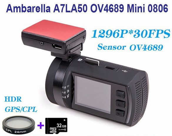 все цены на Free Shipping!Original Newest Upgrade Mini 0806 Full HD 1296P Ambarella A7LA50 OV4689 Car DVR GPS Dash Cam+CPL Filter+32GB Card