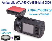 Frete Grátis! Original Mais Recente Atualização Mini 0806 Full HD 1296 P Ambarella A7LA50 OV4689 GPS DVR Carro Traço Cam + Filtro CPL + 32 GB Cartão