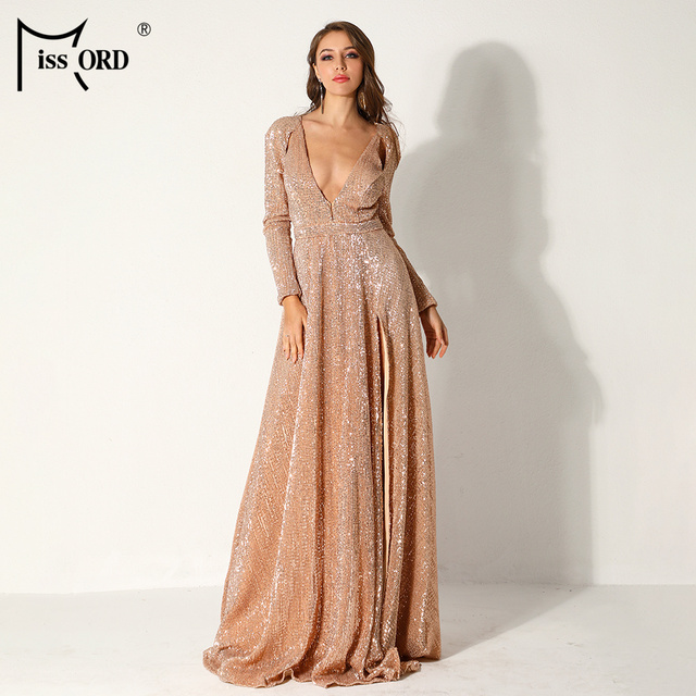 Missord 2019 Women Sexy Deep-V Long Sleeve High Split Dresses Female  Sequin Elegant Party Maxi Reflective Dress FT9707-4