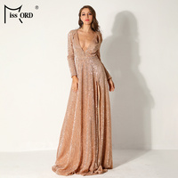 Missord 2019 Women Sexy Deep V Long Sleeve High Split Dresses Female Sequin Elegant Party Maxi Reflective Dress FT9707 4
