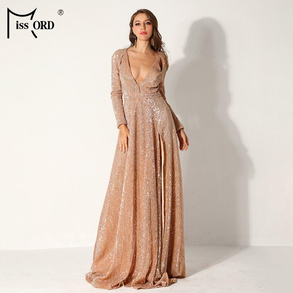 Missord 2019 femmes Sexy profonde-V à manches longues haute Split robes femme Sequin élégant fête Maxi robe réfléchissante FT9707-4