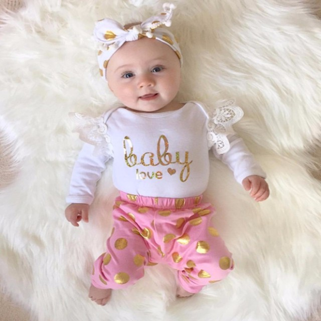 Newborn infant baby girl clothes long sleeve top romper leggings pants 2pcs suit outfits set