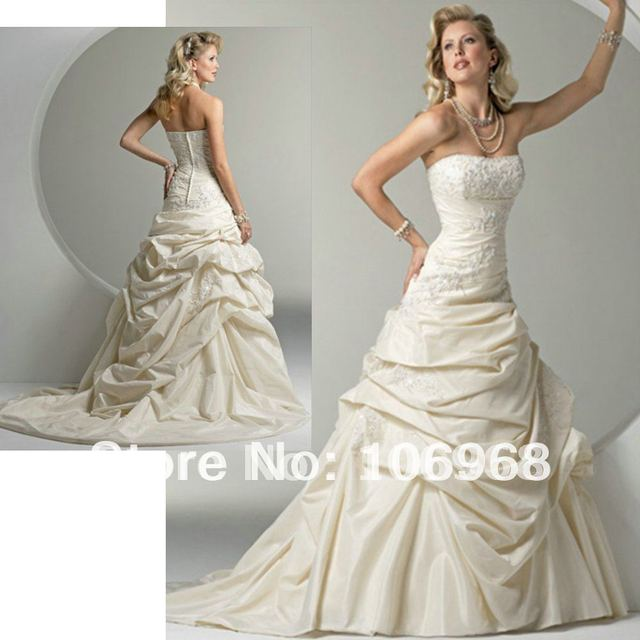 Free shipping Wholesale A-line Strapless Taffeta Mermaid Wedding Dress Custom made SZCHHS W028