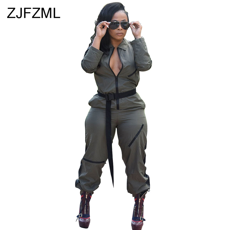 Front Zipper Casual Rompers Womens   Jumpsuit   Turn-Down Collar Long Sleeve One Piece Overall Autumn Ladies Biker Loose Bodysuit