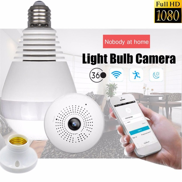 Compact Home Security WIFI Wireless Camera 360 Degree Panoramic View IR Camera  Light Bulb Fish Eye 3D VR Controller Via Phone