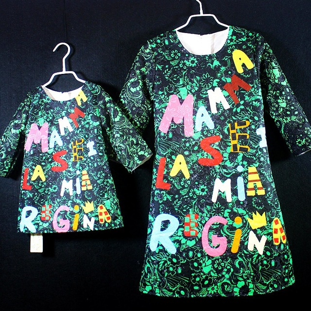 mother daughter dress christmas family clothes for female letter green festival clothing family look 2t 3t