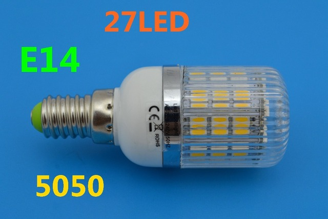 A+ Quality E14 5w  Warm White/Cool White 5050 SMD 27 LED Bulb Lamp High Lumen Energy Saving AC 200V-240V Free Shipping 5pcs/lot