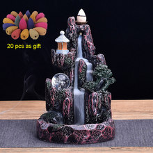 Backflow Incense Burner LED Glowing Ball And 20Pcs Incense Cones High Mountain Waterfall Home Incense Holder Dropshipping(China)