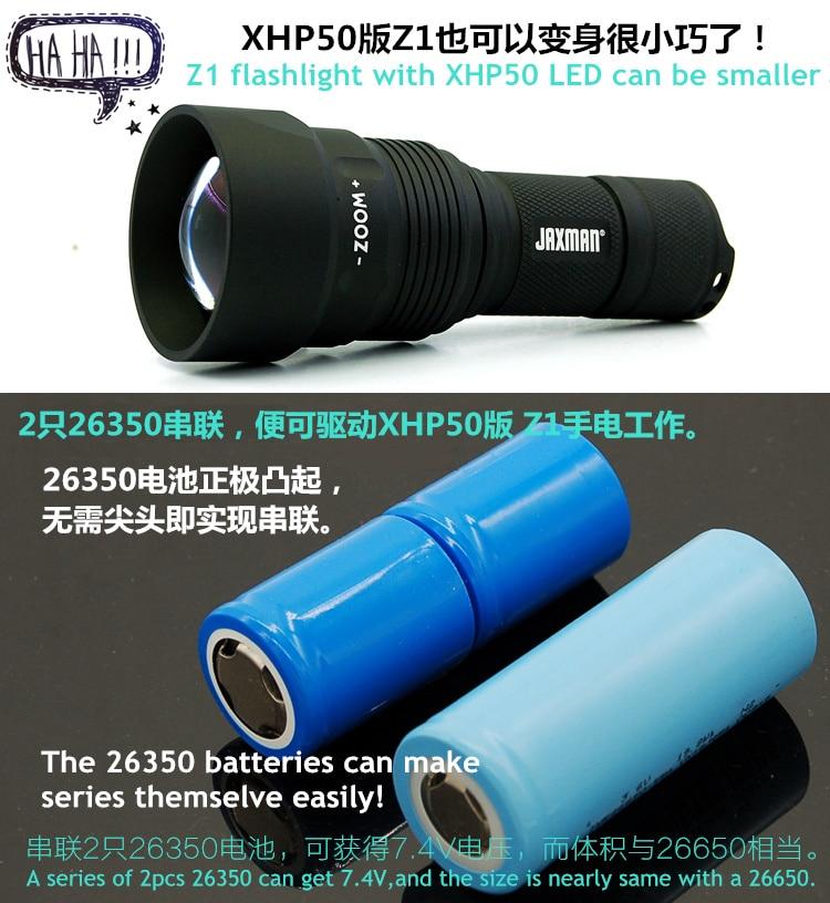 JAXMAN Z1 with 26350 battery Zoom Flashlight Torch shorter size CREE XHP50 XHP50 2 LED free