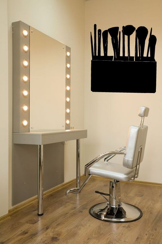 Beauty salon sexy girl women make up tools spa mural vinyl for Salon pictures for wall