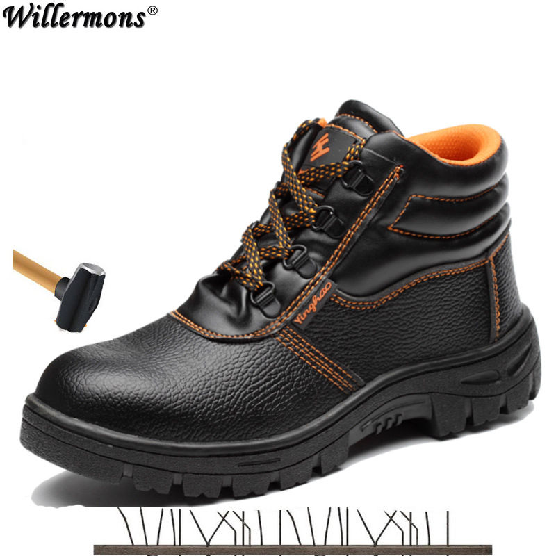 Military Combat Men's High Top Outdoor Steel Toe Cap Anti Smashing Work Boots Shoes Men Iron Nose Anti-puncture Safety Shoes tigergrip rubber non slip safety shoe boot cap visitor overshoe anti smashing steel toe cap boot men and women work shoes cover