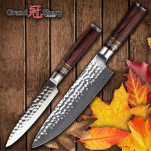 Damascus Knife Set 2 pcs Japanese Kitchen Knives Chef Utility Knife 67 layers Japanese Damascus Stainless Steel Cooking Tools(China)