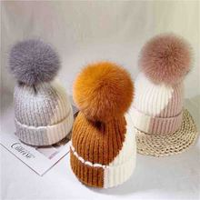цены Autumn and winter women's warm wild knit wool hat 15cm pompom fox fur ball wool hat fashion color matching warm knitted hat