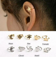 New Fashion star moon heart clip stud font b earring b font gift for women girl