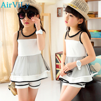Retail 2015 New Girl Summer Fashion White Lace Blouse Pants Two Piece Suits Kids Clothes Girls