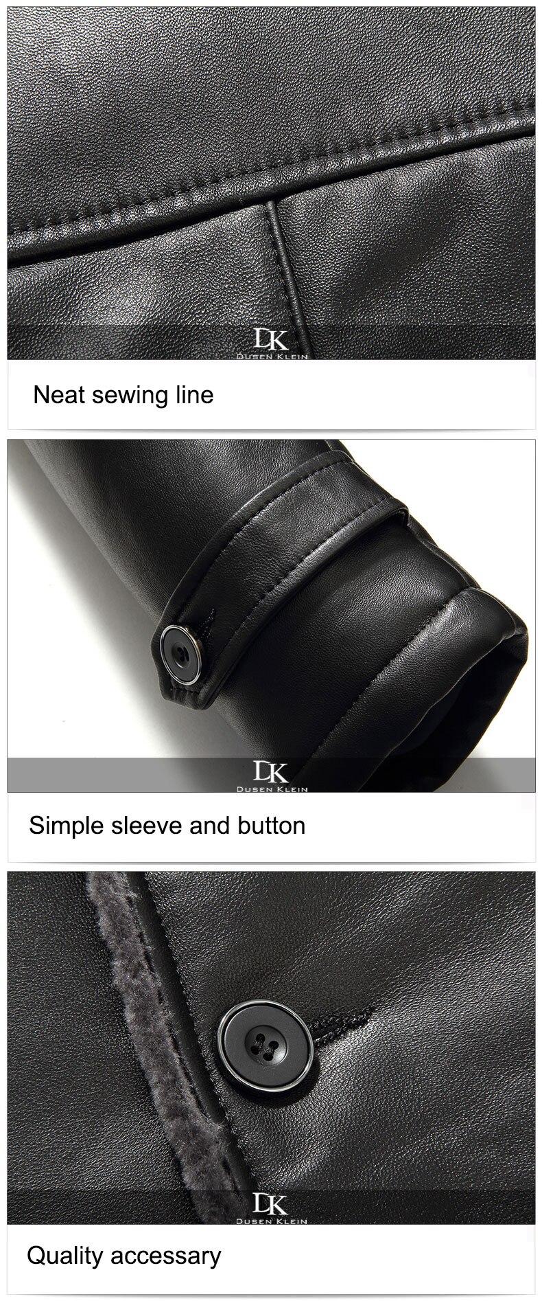 Men's leather Jacket wool interior 2016 New Dusen Klein Genuine sheepskin wool collar Middle long Designer male coat 61Z16017