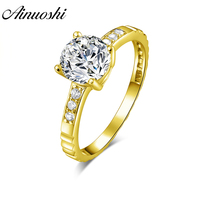 AINUOSHI 10k Solid Yellow Gold Ring 4 Prongs 1.25 ct Round Cut SONA Diamond Woman Wedding Engagement bijoux Classic Bridal Band