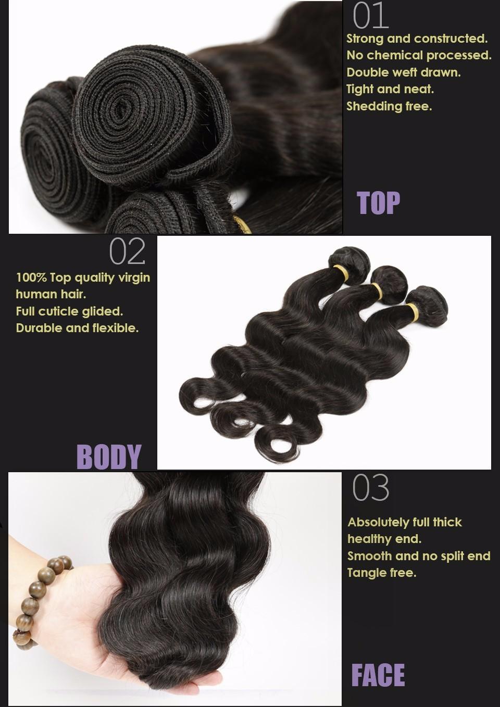Brazilian Virgin Hair Body Wave 4 Bundles brazilian hair weave bundles 100% Unprocessed Virgin Human Hair Bundles Brazilian  Body Wave Alimice (3)