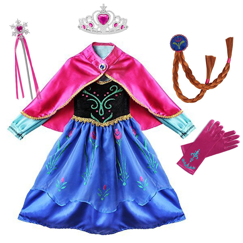 Princess Anna Party Supplies Cosplay Costume for Girls Carnival Kids Dress up Clothing