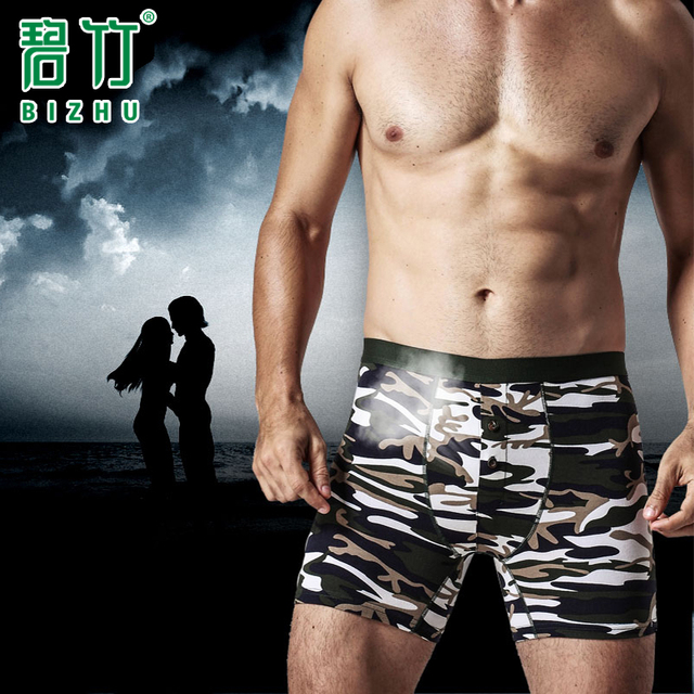 BIZHU 2016 9XL ropa interior Suave Sexy Bragas cueca boxers shorts de talle alto Camuflaje Patrones shorts hombres boxer homme
