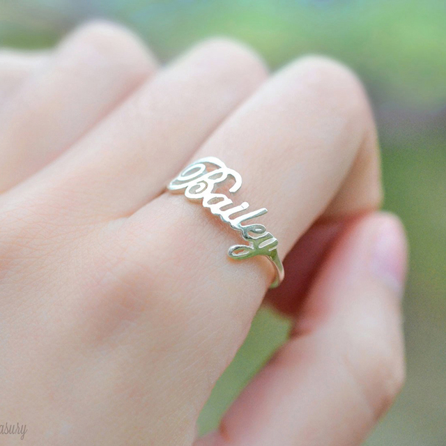 DODOAI Free Size Custom Ring,Personalized Name Ring With Heart,Custom Nameplate Ring For Couple ,Stainless Steel Rings For Women