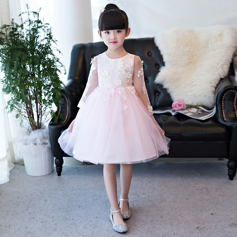 2017 New Korean Sweet Beautiful Children Girls Pink Color Princess Dress Kids Children Long Sleeves Birthday Wedding Party Dress pink lace up design cold shoulder long sleeves hoodie dress