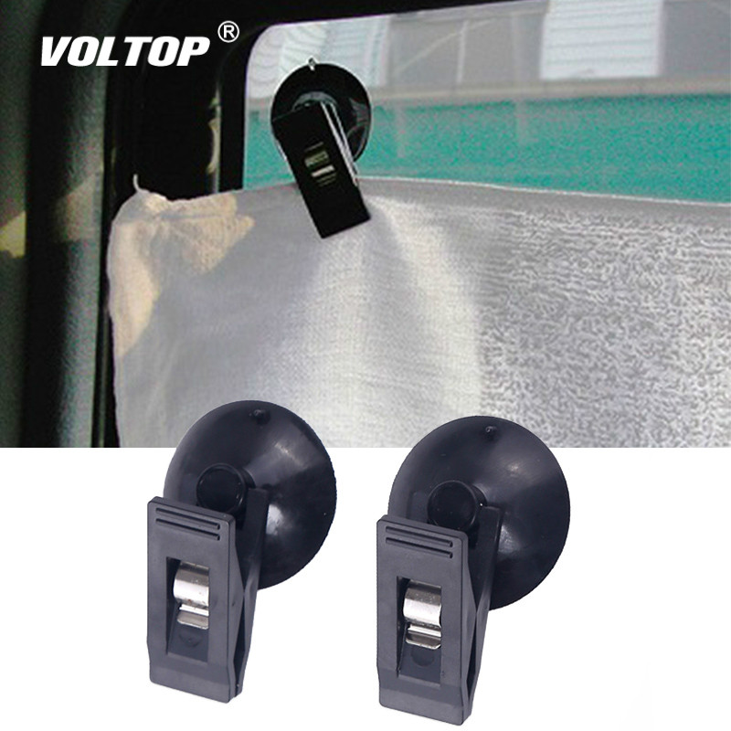 1 Pair Car Interior Window Clip Mount Black Suction Cap Clip Plastic Sucker Removable Holder For Sunshade Curtain Towel Ticket-in Auto Fastener & Clip from Automobiles & Motorcycles