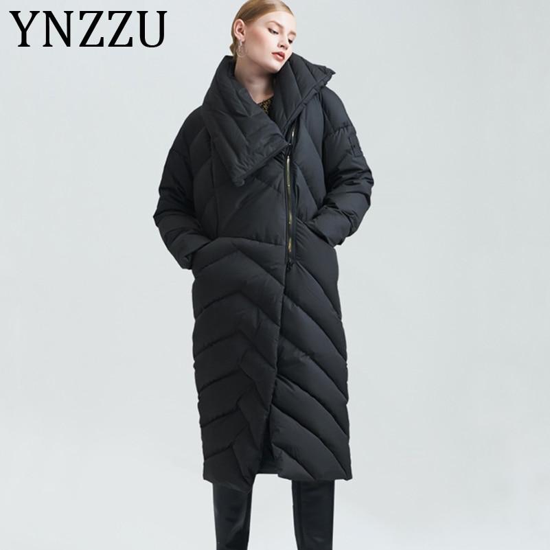 YNZZU White Duck   Down   Women Winter   Coats   Fashion black Long Sleeve Zipper Brand Casual   Down   Jackets Big Size High Quality AO251