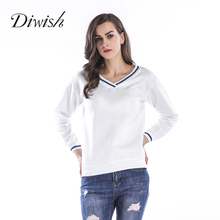 Diwish 2019 Newest Solid Color V Neck Hoodies Pullovers Women Autumn Long Sleeve Casual 3 Colors Velvet Warm