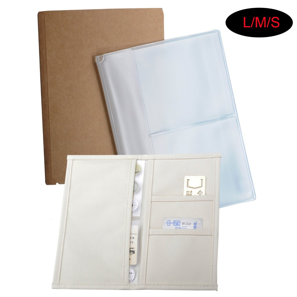 Oxford Kraft Plastic PVC Clear Zipper Pocket Notebook Organizer ID Card Holder For Traveler's Note Book Journal Refill